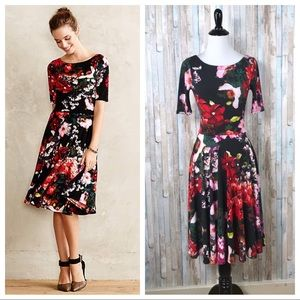 Anthropologie 00P Photostat Floral Fit Flare Dress